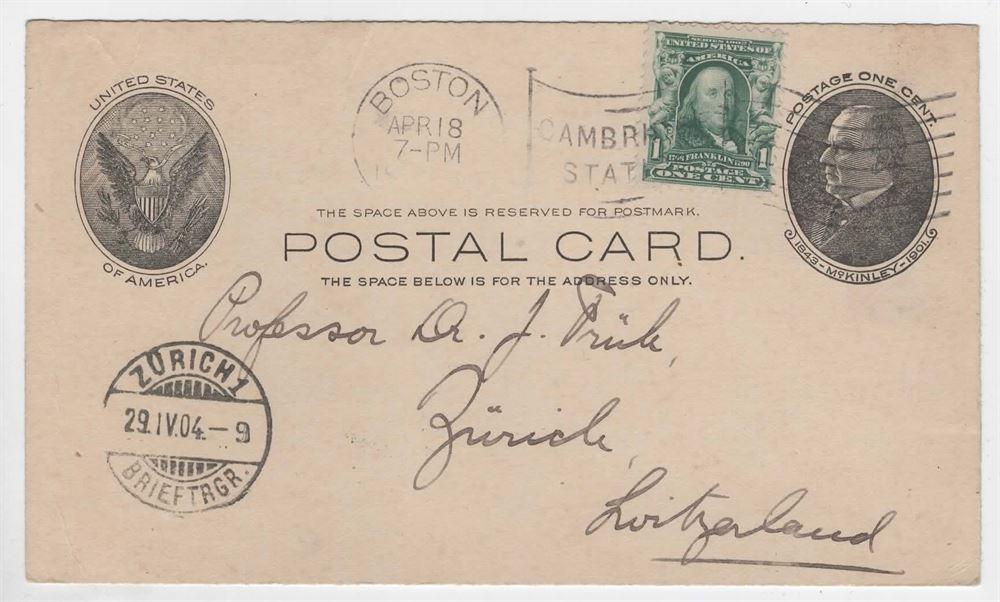 Helsakskort 1 1c Till Schweiz Boston Apr 18 1904 Ank Zurish 29 Iv