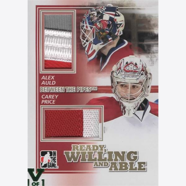 2010-11 Collecting Card Between The Pipes Ready Willing and Able Jerseys Gold RWA01