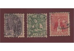 Switzerland 1917 Stamp Mi133-5 Stamped